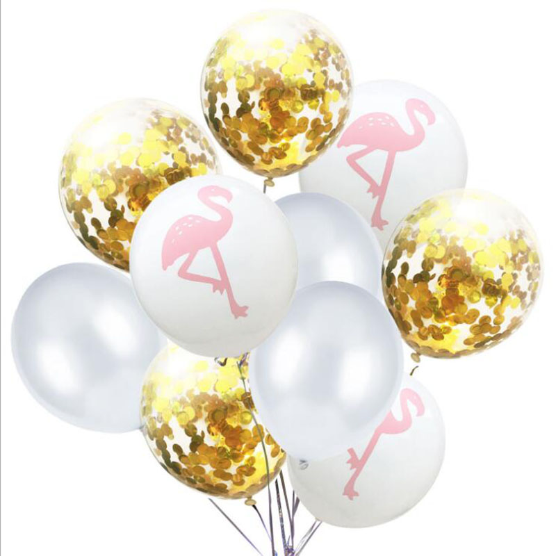 AVEBIEN 12inch Wedding Party Colorful Sequin Latex Balloons Flamingo Leaf Printing Balloon Birthday Hawaiian Decor 10pcs