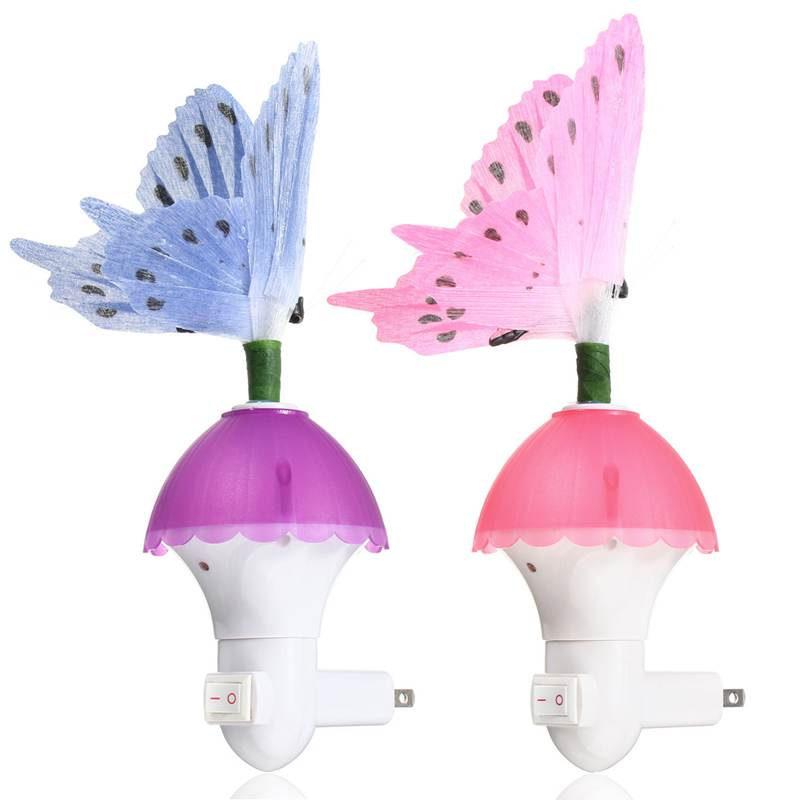 US Plug 7 Color Changing Fiber Optic Butterfly LED Night Light Lamp Night Lamps For Bedroom