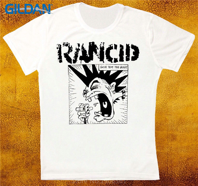 Fashion T Shirt Free Shipping MenS Short Sleeve Design Rancid Give Em The Boot Short Sleeve Crew Neck T Shirts
