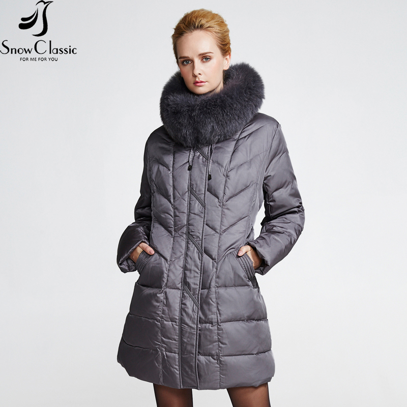 Snowclassic New Woman Winter Jackets 2016 Plus Size 6xl Jacket Real Fox Fur Collar Down Jacket Winter Big Sale 12029