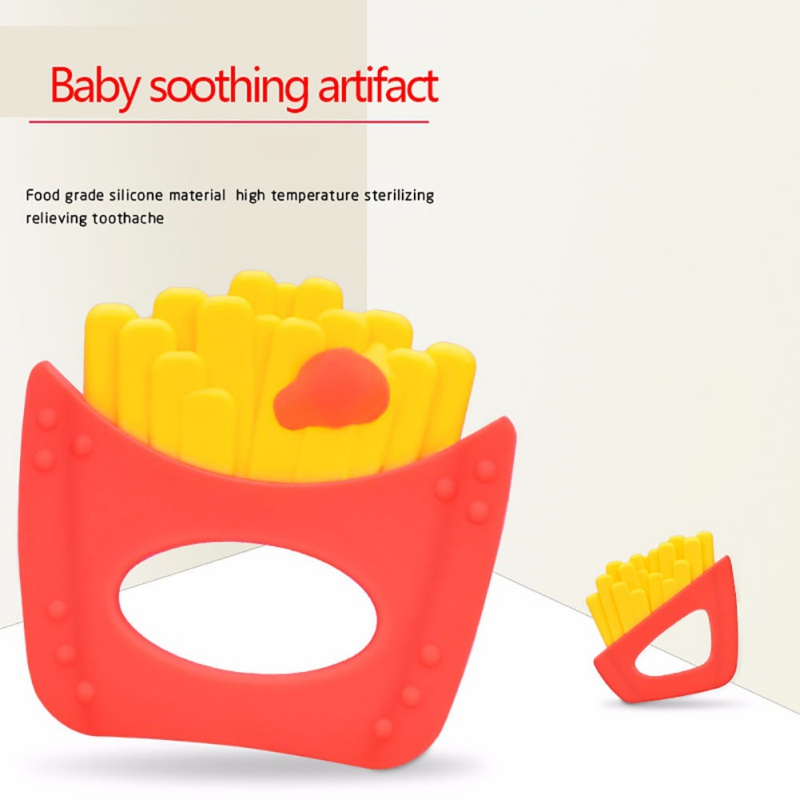 French fries Silicone Teether Babies Teething Pendant Nursing Soft Silicone Bead