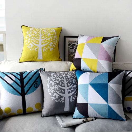 Elegant Sofa Pillows: Nordic Tree Geometric Velvet Cushion Cover Modern Chic