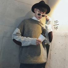 Inverno 2017 Winter Round Neck Knitting Assorted Color Sweater Men Patched Clothes Casual Warm Agasalho Pullover Masculino