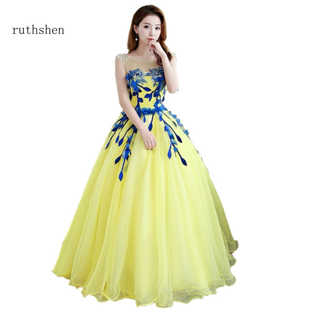 ruthshen Appliques Quinceanera Dresses 2018 Yellow Debutante Gowns  Sleeveless Sweet 16 Dresses For Masquerade Prom Party a1da73a65e06