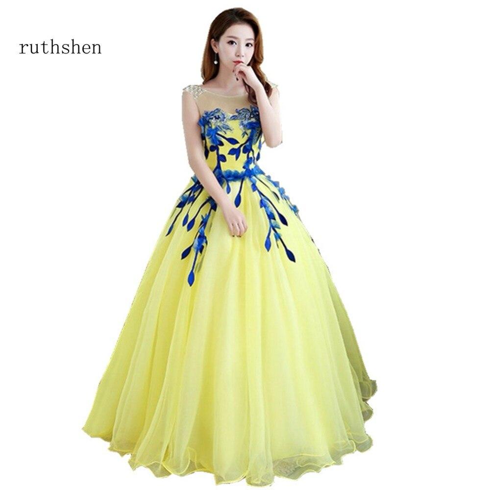 ruthshen Appliques Quinceanera Dresses 2018 Yellow Debutante Gowns ...