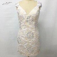 Modest White Lace Krótka Sukienka Koktajlowa Sukienka na Imprezę Koralik osłonki Made in China 2017 Specjalne Okazje Suknie Vestidos de Coctel