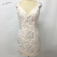 Modest White Lace Cocktail Dress Short Dress To Party Bead Sheath Made In China 2015 Special