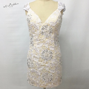 Modest White Lace Cocktail Dress Short Dress to Party Bead Sheath Made in China 2017 Special Occasion Dresses Vestidos de Coctel