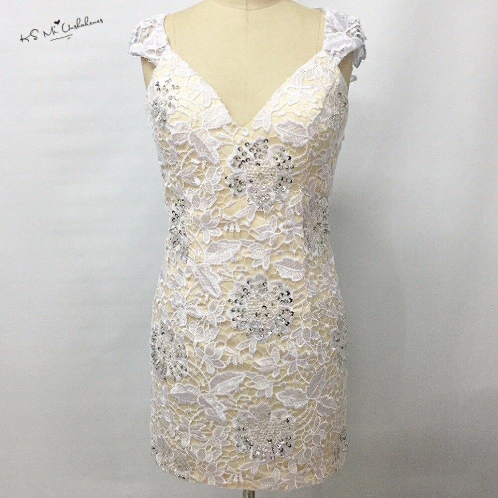 Robe de Cocktail en dentelle blanche modeste robe courte à la gaine de perles de fête fabriquée en chine 2017 robes d'occasion spéciale robes de Coctel