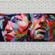Palette knife portrait Face Oil painting Character figure canva Hand painted Francoise Nielly Art picture  room00