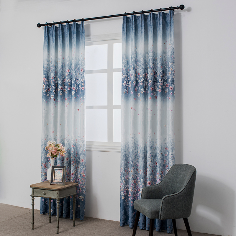 Single Panels Blue Jacquard Curtains For Living Room Rustic Home Decor Flower Cotton Curtains Pattern Drapes Single Panels Blue Jacquard Curtains For Living Room Rustic Home Decor Flower Cotton Curtains Pattern Drapes
