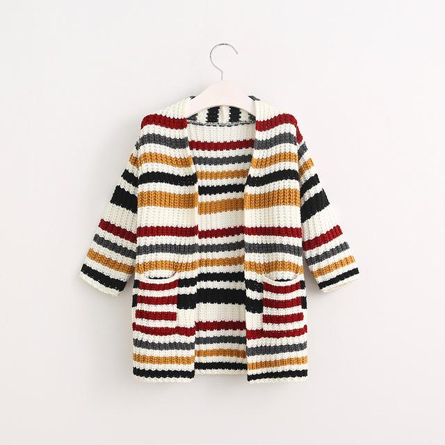 Bebê da menina do Outono Primavera Longo X-Listrado Abrir Camisola Outwear Feminino kid Casacos Longos Casuais