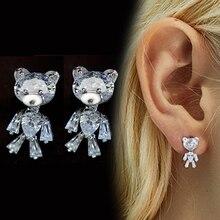 Cute bear CZ Crystal Cubic Zirconia Stud Earrings for Women Girls S925 Silver Needles