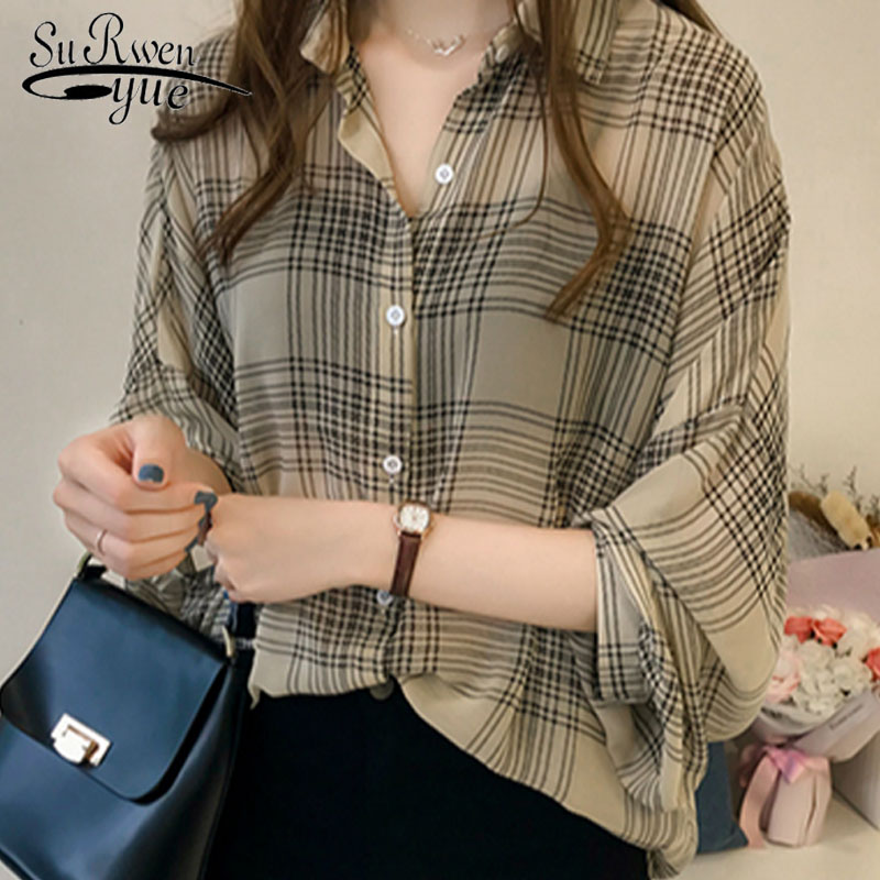 plus size   blouse     shirt   fashion women   blouses   2018 long sleeve OL   shirt   women tops and   blouse   striped plaid 4XL blusas 1201 40