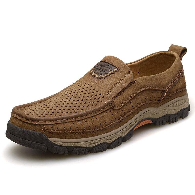 Лоферы из натуральной кожи Для мужчин повседневная обувь 2018 Модные дышащие Мокасины обуви для Для мужчин Бизнес вечерние на лето и весну об...