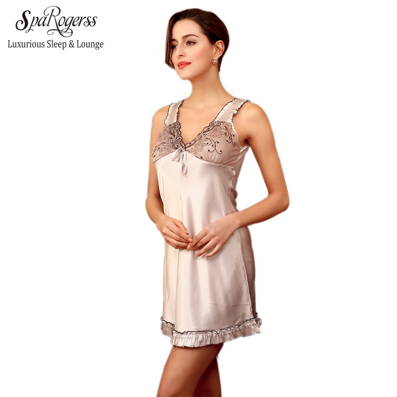 SpaRogerss Women Lace Sleep Lounge 2018 New Ladies Sexy Nightgown Summer Female Faux Silk Satin Short Nightdress For Woman SQ123