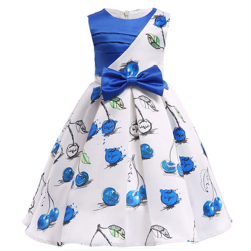 Allover Cherry Printed Kids Dress Cute Sleeveless Pleated Satin Dresses High Quality Slim Elegant Girls Party Dress 2-10T Cloth