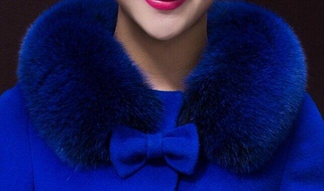 Mince Fourrure Bowknot Solide Noble Femmes Couleur Et Gratuite Manches Doux yellow Laine Manteau Dame Col Style Nouvelles D'hiver Blue De Coréenne Sapphire Livraison a8xqTPwSq