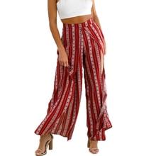 Alta split Stripe Pantalón ancho Pantalones mujer verano playa suelta  pantalones chic streetwear cintura elástica casual pantalo. 67f423668118