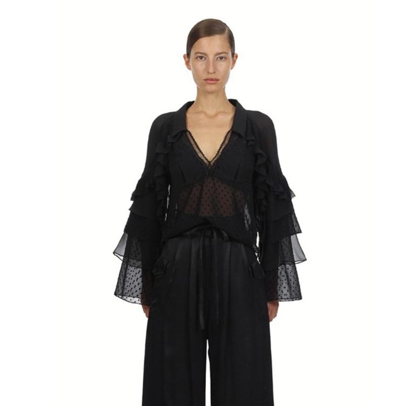 2019 auto Portrait Designer Blouse printemps noir Patchwork volants en mousseline haut pour femme manches évasées Blouse de piste