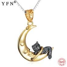 925 prata esterlina jóias adorável gato & lua pingente colares vintage clássico colar para meninas gnx11973