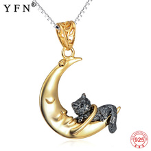 YFN 925 Sterling Silver Necklace Jewelry Lovely Cat & Moon Pendant Necklaces Vintage Classic S925 Necklace For Women Girls Gift