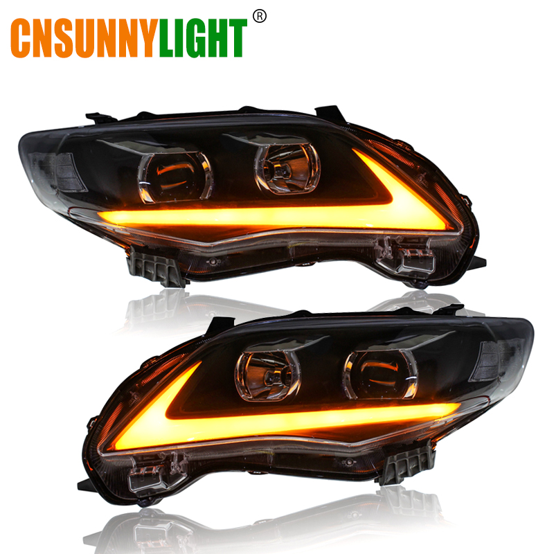 CNSUNNYLIGHT For Toyota Corolla 2011 2012 2013 Car Headlights Assembly W LED DRL Turn Signal Lights