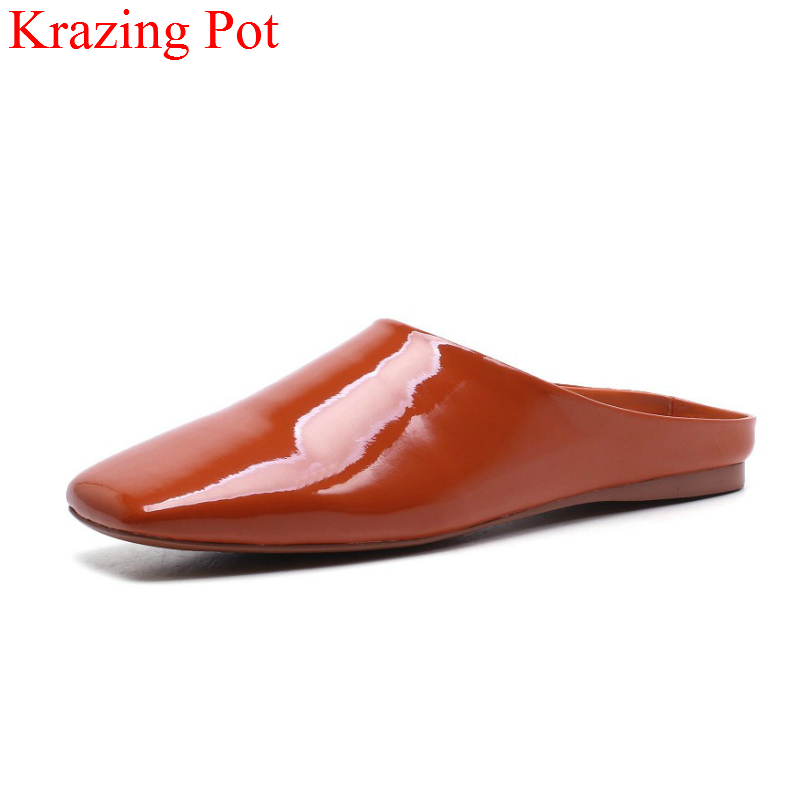 2018 Fashion High Quality Brand Summer Shoes Square Toe Women Slippers Solid Color Slip on Flats Office Lady Slingback Shoes L05 new 2017 spring summer women shoes pointed toe high quality brand fashion womens flats ladies plus size 41 sweet flock t179