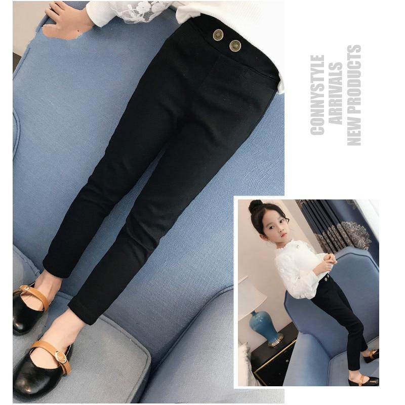 Leggings Girls Trousers Solid Black White Toddler Pants 2018 Autumn Long Pencil Pant Teenage Girls Clothing 3 12 Years Kids Teen