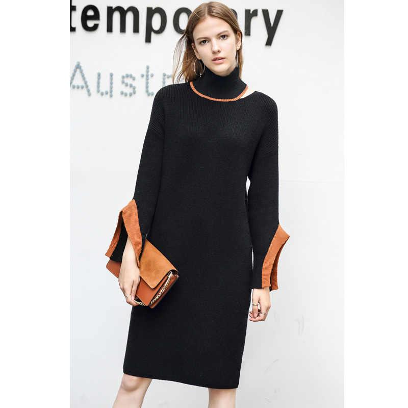 d1ef3b7bdc3 ... Amii для женщин Минималистский осень 2018 г. Платье Chic офисные  женские туфли элегантный Flare рукавом ...