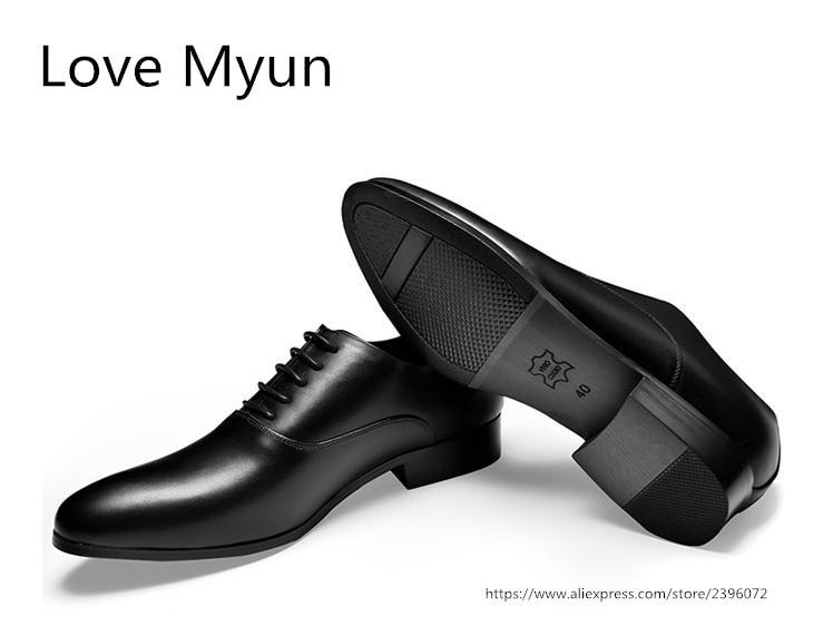 New mens del cuoio genuino pattini di vestito bianco balck oxfords rotonde toe lace up scarpe da sposa di alta qualità business casual lavoro scarpe - 2