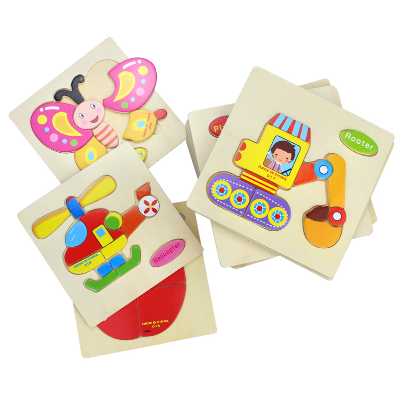 Baby Toys Wooden Puzzle Cute Cartoon Animal Intelligence Kids Educational Gift Brain Teaser Children Tangram Shapes Jigsaw gift(China)