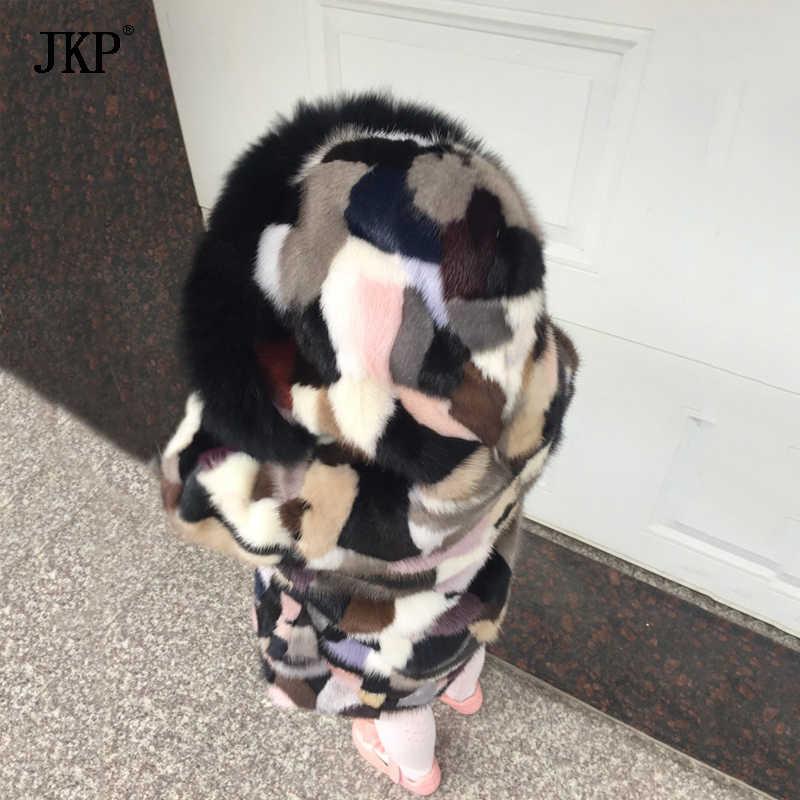 ฤดูหนาวเด็กจริง Mink ขนสัตว์ธรรมชาติเด็ก Mink Patchwork Coat Warm ที่มีสีสัน Mink fur แจ็คเก็ตเด็กชายหญิงเสื้อผ้า