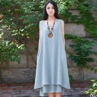 LZJN Summer Beach Dress 2018 Cotton Linen Robe Femme Vintage 2 Piece Tank Dresses Mori Girl