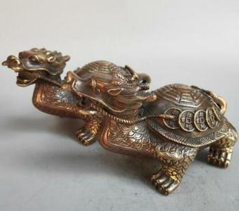 A Pairs Chinese Old Pure Brass Eight Diagrams Coin Animal Dragon Tortoise Safety And Longevity Wealth Statue