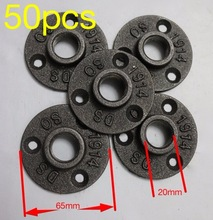 50pcs/lot  DN15 DIY LOFT Style Cast iron Industrial pipes flange wall base (-DN15-1/2Pipe Hole ID:20MM )