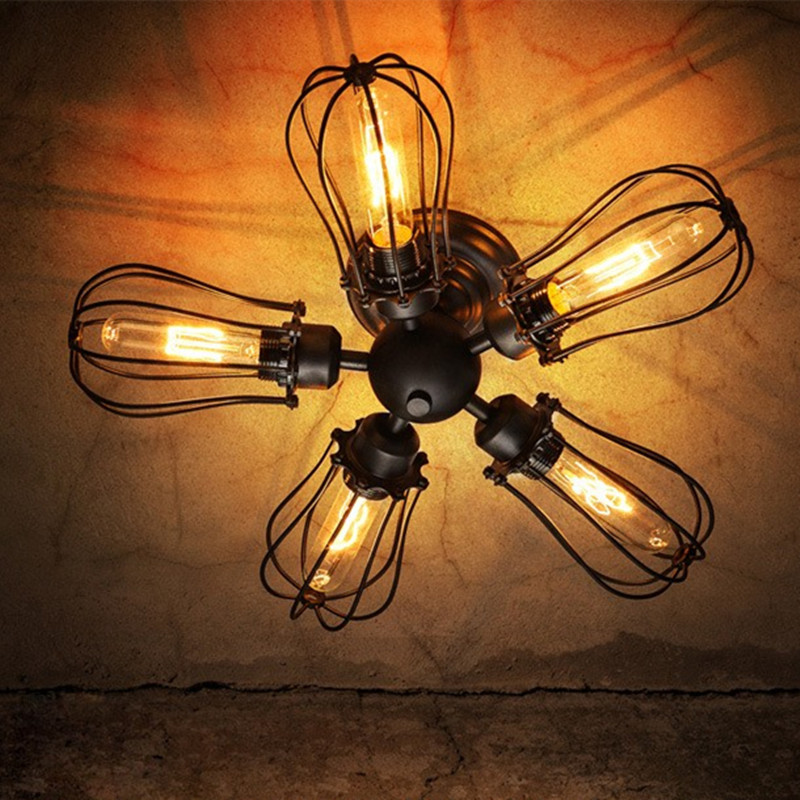 5 Head Rural Industrial Loft Style Iron Vintage Restaurant Ceiling Lamp Cafe Light Bar Light Retro Decoration Lamp Free Shipping loft edison vintage retro cystal glass black iron light ceiling lamp cafe dining bar hotel club coffe shop store restaurant