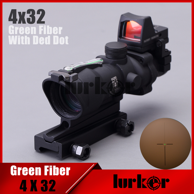Tactical 4X32 Fiber Source Red Illuminated Hunting Riflescope With Mini Red Dot Scope For Airsoft Hunting