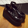 Shallow Mouth Flatform Ankle Wrap Retro Comfortable New Glossy Harajuku Platform Vintage Shoes Wedge Elegant Patent Leather