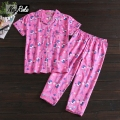 New summer cute short sleeve women pajama sets v-neck 100% cotton simple casual sleepwear for women Cartoon sheep shorts sets
