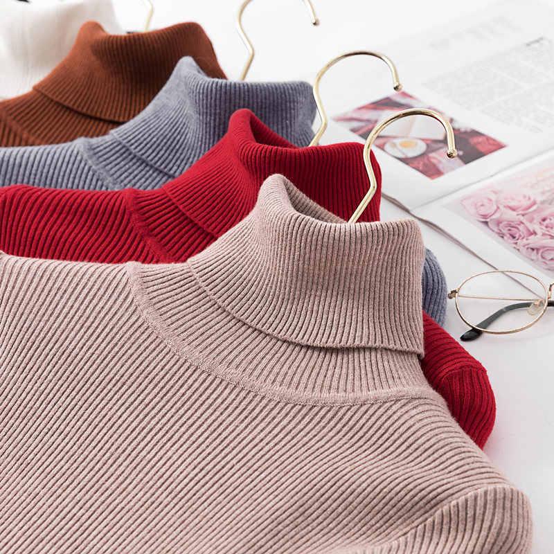 2020 autunno Inverno Maglione Lavorato A Maglia Pullover Maglione A Collo Alto per Le Donne A Manica Lunga Bianco E Nero Morbido Femminile Maglione Abbigliamento