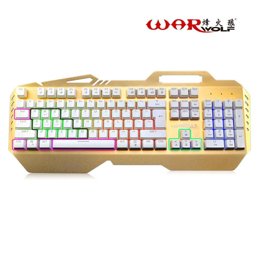 Wired Mechanical Keyboard 104 Keys Gaming For Computer Games Mechanical Feel With 7 Colorful Rainbow Backlight rainbow gaming backlight keyboard 87 keys colorful mechanical keyboard with blue black switches desktop for pc laptop