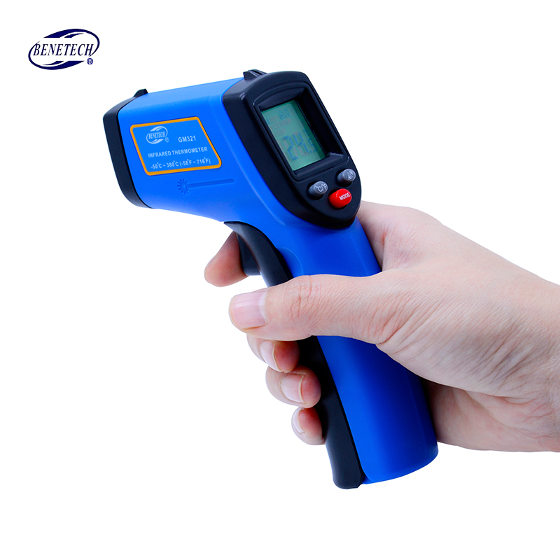 Digital Laser Non contact infrared thermometer GM321 -50~380C (-58~716F) 0.1-1.0 Adjustable IR Laser Point Gun Pyrometer 2016 high quality for bside btm21c infrared thermometer color digital non contact ir laser thermometer k type 30 500 led