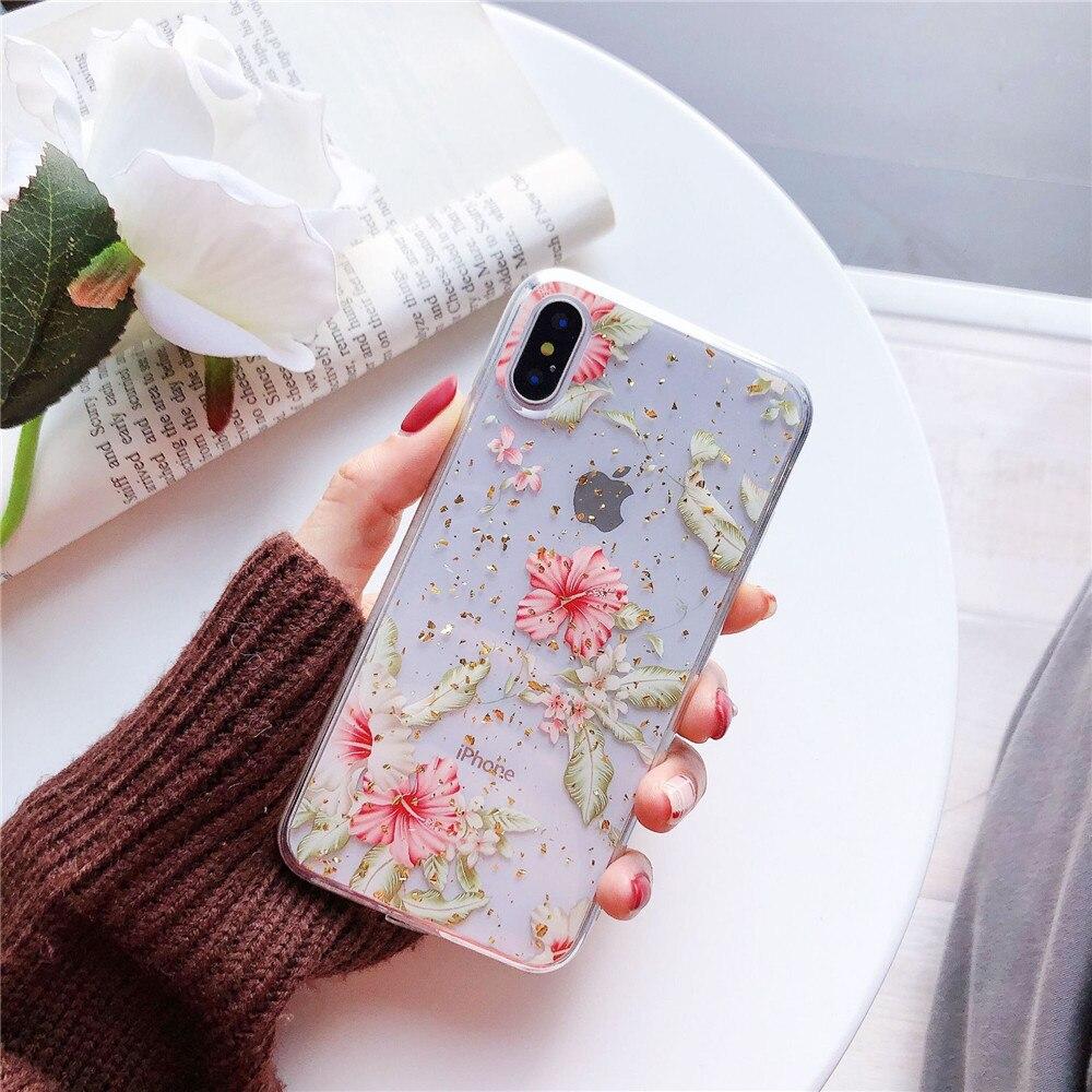 S8 S9 S10 Plus Gold Foil Flower Clear Phone Case For Samsung S10 lite S10e  Soft TPU Cover Note 8 Note 9 Glitter Case Coque Funda