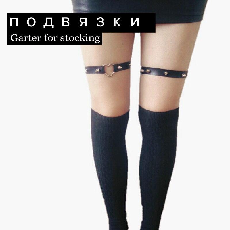 2 ks / sada Rock Pub Girl Garter Belt 2015 Nýty Harajuku Ženy Punk Leg Ring Stehenní popruh Srdeční podvazek pro dívčí dárky
