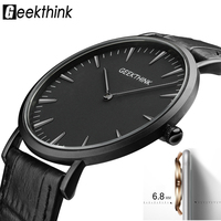 GEEKTHINK Minimalist Top Luxury Brand Ultra Thin Quartz Watch Men Business Casual Trend Leather Strap Wristwatch