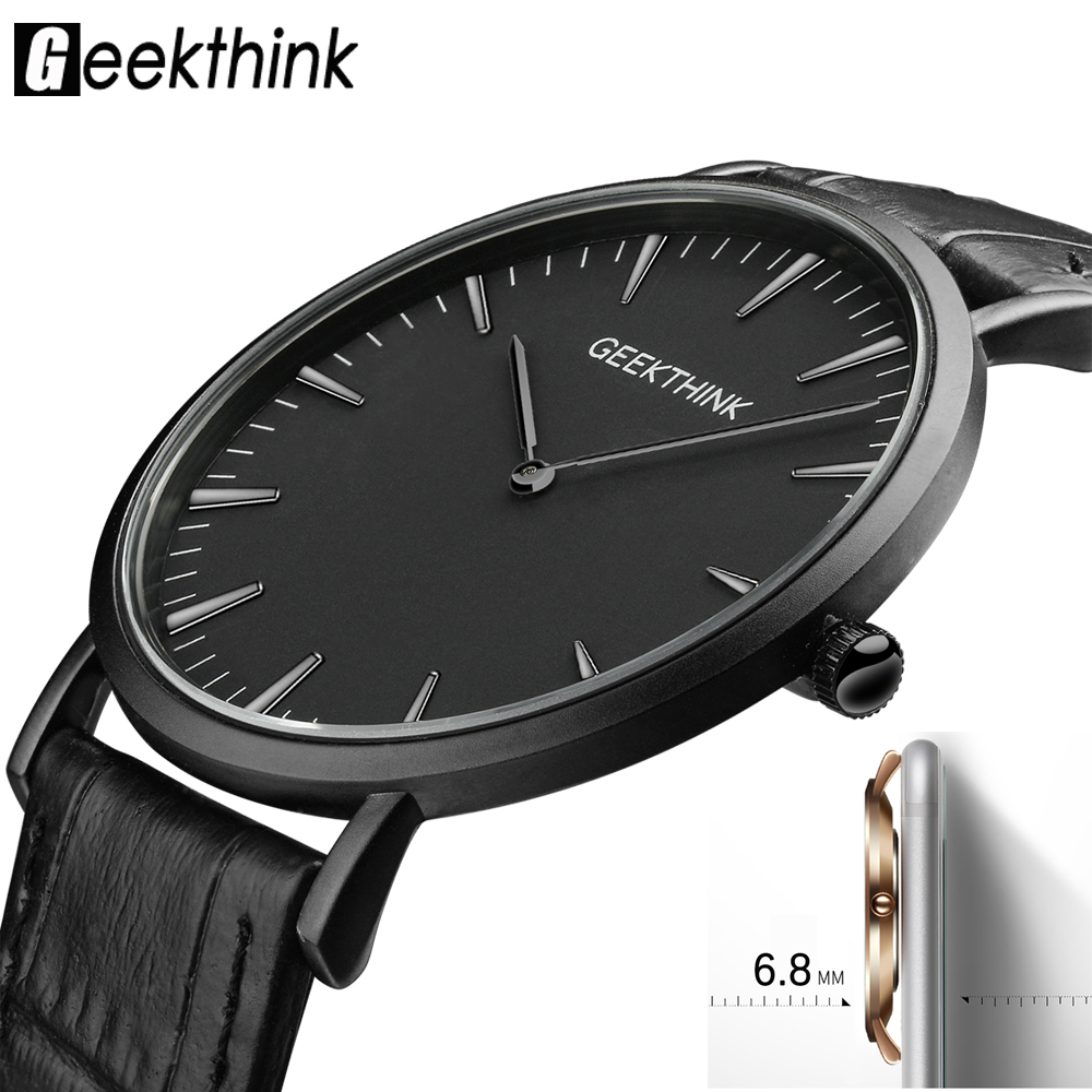 GEEKTHINK Minimalist Top Luxury Brand Ultra Thin Quartz Watch Men Business Casual Trend Leather Strap Wristwatch Simple Classic цена