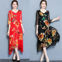 QMGOOD Summer Ladies Beautiful Print Long Dress Asymmetry Length Half Sleeve Dresses Women V Collar Elegant