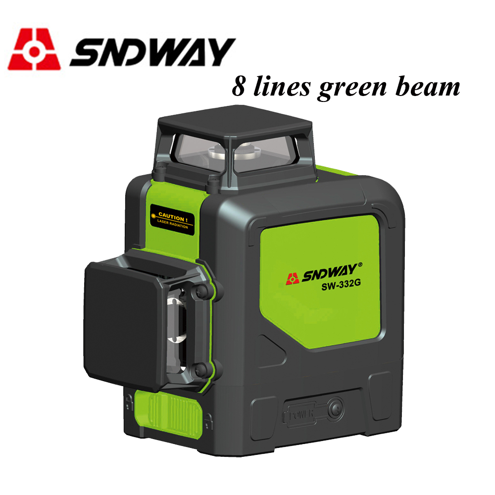 SNDWAY laser level 360 Green Red Beam 8 lines Rotary Self leveling Vertical Horizontal Cross line