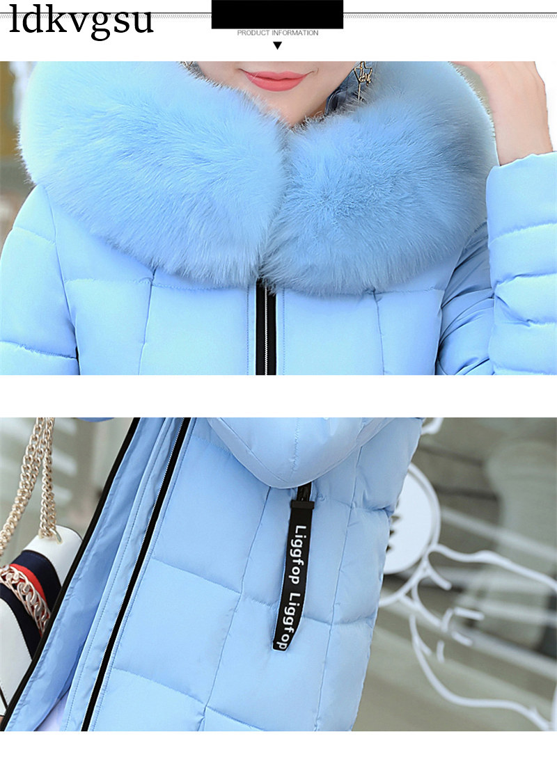 Image 5 - 2019 Women Winter Jackets Down Cotton Hooded Coat Plus Size Parkas Mujer Coats Long Coat Fashion Female Fur collar Coats A1297-in Parkas from Women's Clothing